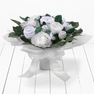 BABYBLOOMS naujagimio drabužėlių puokštė 11d Luxury Rose Bouquet Neutral BQC20008