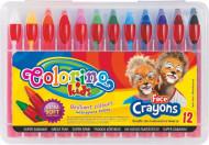 COLORINO KIDS veido puošybos kreidelės, 12 spalvų, 32650PTR 32650PTR