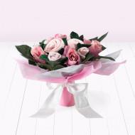 BABYBLOOMS naujagimio drabužėlių puokštė 9d Hand Tied Bouquet Pink BQM20002