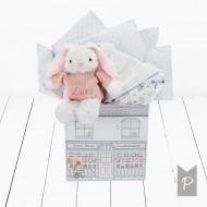 BABYBLOOMS chalato ir minkšto žaislo rinkinys Little Love Pink DITGBU242
