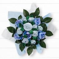 BABYBLOOMS naujagimio drabužėlių puokštė 9d Hand Tied Bouquet Blue BQM20001